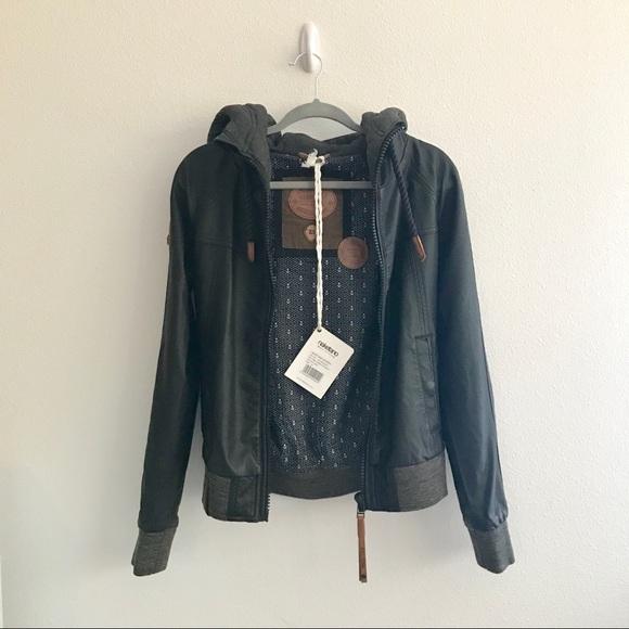 Naketano Black Faux Leather Hooded Jacket NWT